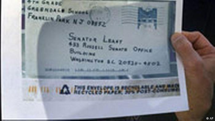 An enlarged copy of a letter (laced with anthrax) sent to Senator Patrick Leahy in 2001. The senator was unharmed