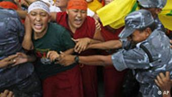 Tibetan exiles protest protest against the Chinese government in Nepal