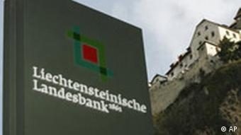 A sign with the logo of the Liechtenstein Landesbank