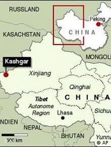Karte Westchina mit der Provinz Xinjiang und dem Grenzort Kashgar, China