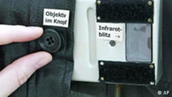 Image of a Stasi camera hidden inside a jacket pocket