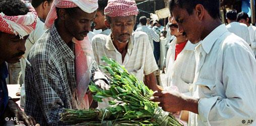 Yemenis buy and sell khat, a mild stimulant popular in this Arabian Peninsula nation