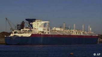 A liquefied natural gas tanker unloads cargo in Massachusetts, US