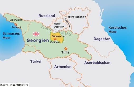 Karte Kaukasus Georgien mit den Teilrepubliken Abchasien und Südossetien deutsch