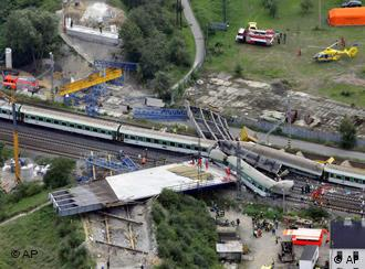 An areal view shows the scene of the train accident in Studenka