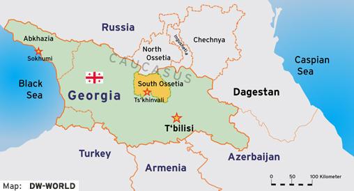 Karte Kaukasus Georgien mit den Teilrepubliken Abchasien und Südossetien englisch