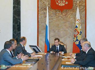 Russian President Medvedev during a National Security Council meeting on Friday