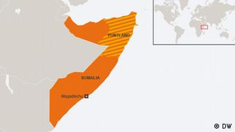 Map of Somalia with Puntland marked in the north