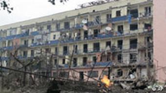 An apartment building, damaged by a Russian air strike, is seen in the northern Georgian town of Gori