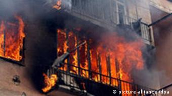 Burning apartment building after the bomb attack of Russian warplanes on Gori, Georgia