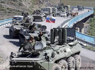 A column of Russian troops is on the march to Tskhinvali, the capital of South Ossetia