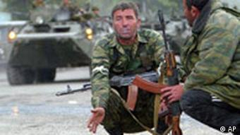South Ossetian separatist fighters resting in August 2008