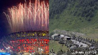 Photo collage of the Olympic opening ceremony in Beijing and a caravan of Russia troops moving into South Ossetia