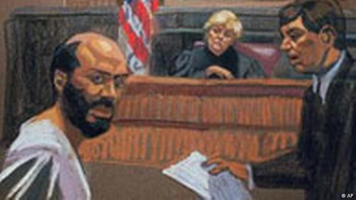 Zacarias Moussaoui im Gericht, Illustration (AP)