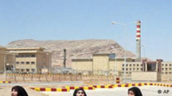 women in front of isfahan uranium facility