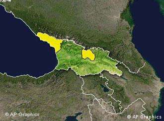 Map of Georgia and its neighbors, with Abkhazia (left) and South Ossetia highlighted in yellow