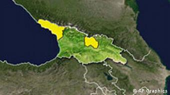 Georgia Republic topographic map, with Abkhazia and South Ossetia regions highlighted
