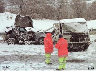 A nevasca provocou vários acidentes nas estradas espanholas