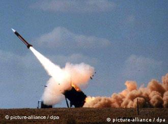 A Patriot anti-aircraft missile is launched from a US base in Greece in 2002