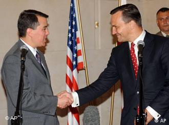 Polish Foreign Minister Radek Sikorski, right, shakes hands with chief US negotiator John Rood after an initial agreement on conditions for placing a U.S. missile defense base in Poland was signed, in Warsaw, Poland, Thursday, Aug.14, 2008.