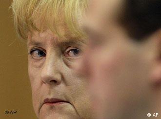 Меркель на встрече с Медведевым (15 августа 2008 года)