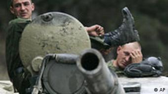 Russian soldiers near Gori, northwest of the capital Tbilisi, Georgia