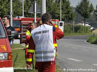 Medical personnel near the site of the accident on Saturday
