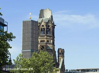 View of the towers of Kaiser Wilhelm Memorial church in Berlin