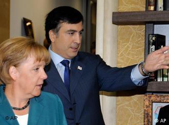 German Chancellor Angela Merkel with Georgian President Mikheil Saakashvili