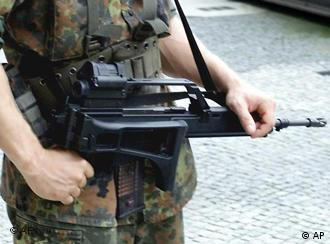Heckler and Koch G36 rifle held by German military poliecman