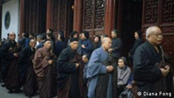 Chinese monks at a religious Buddhist procession