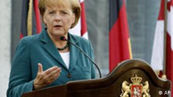 Angela Merkel (am 17. August in Tiflis), Quelle: AP
