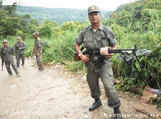 A Cambodian soldier on the disputed Thailand-Cambodian border