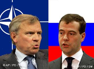 دیمیتری مدودیف، رئیسجمهور روسیه، و یاپ دو اسخفر، دبیر کل ناتو