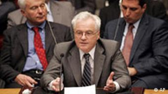 Vitaly Churkin, U.N. Russian Ambassador speaks at a Security Council meeting at U.N. headquarters Tuesday, Aug. 19, 2008 during emergency consultations on the conflict between Russia and Georgia after France requested discussion of a new draft plan to end the hostilities. (AP Photo/David Karp)