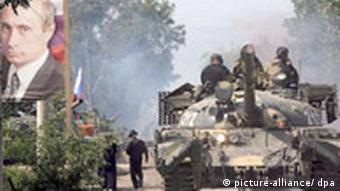 Georgien Südossetien Panzer und Putin in Zchinwali