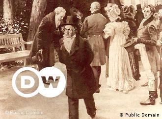 Este quadro retrata o 'incidente de Teplitz'. Caminhando ao lado de Johann Wolfgang Goethe (à esquerda, no fundo) em 1812, Beethoven se recusou a curvar-se diante da família imperial, ao contrário do famoso escritor. Beethoven tinha grandes expectativas em relação a seu primeiro encontro com Goethe. Porém o poeta descreveu o compositor como 'muito introvertido'. Neste momento de sua vida, Beethoven estava conturbado e pouco compunha.