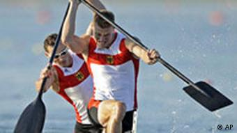 Thomasz Wylenzek and Christian Gille compete in the men's 1000 meter double canoe race.