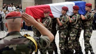 Coffins of French soldiers killed in Afghanistan