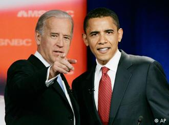 ** FILE ** Sen. Joe Biden, D-Del., left, talks with Sen. Barack Obama, D-Ill., prior to the start of the first Democratic presidential primary debate of the 2008 election hosted by the South Carolina State University in Orangeburg, SC., in this April 26, 2007 file photo. Barack Obama selected Sen. Joe Biden of Delaware late Friday night Aug. 22, 2008 to be his vice presidential running mate, according to a Democratic official, balancing his ticket with an older congressional veteran well-versed in foreign and defense issues. (AP Photo/J. Scott Applewhite, File)