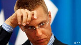 Finnish Foreign Minister Alexander Stubb during a press conference