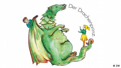 Logo des Drachenprinzen, ein Drache mit zwei Kindern