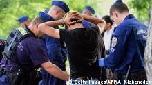 Ungarn Polizisten verhaften Flüchtlinge an der Grenze zu Serbien