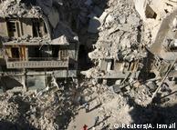 Ruínas da cidade de Aleppo, bombardeada por forças do governo sírio e russas