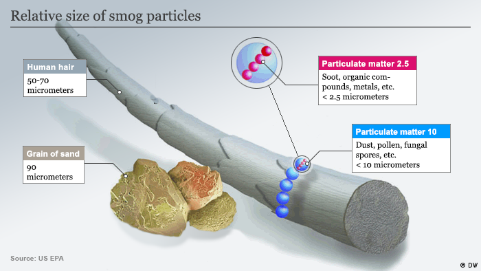 Infographic relative size of smog particles