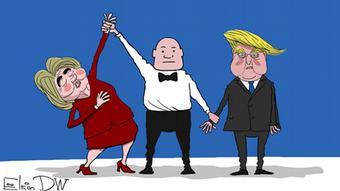 USA TV-Duell Karikatur von Sergey Elkin