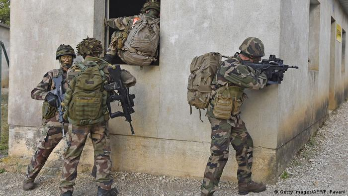 Soldiers from France's 11th Parachute Brigade perform during the Colibri interallied exercise
