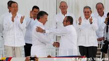 Kolumbien Historisches Friedensabkommen in Cartagena unterzeichnet