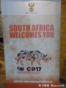The official logo for the CITES COP 17 meeting is a rhino, one of the most endangered mammals in Africa (Photo: DW/B. Bascomb)