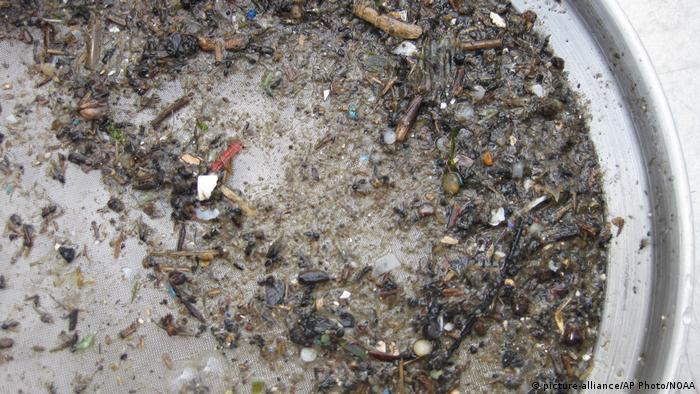 Microplástico contamina rios oceanos. Na foto, amostra do Rio Patapsco, nos EUA